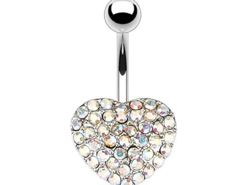 ezüst köldök piercing